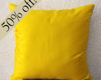 """Canary Yellow, Silk Dupioni Pillow Cover, silk pillow, cushion cover, accent pillow, decorative pillow, 15 x 15  - """"HALF PRICE SALE""""  - s17F"""