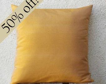 """Gold Pillow, Silk Dupioni Pillow, Silk pillow, Pillow Cover, Neutral Pillow, Throw Pillow , Accent Pillow, 15x15  - """"HALF PRICE SALE""""- s19F"""