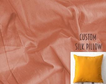 Silk Dupioni Pillow, Decorative Pillow Cover, throw pillow, silk cushion, Custom pillow, Accent pillow, modern pillow - Dull Peach - SLDP12