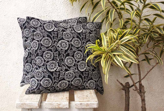 Black Cushion Floral Pillow Indian Pillow Cover Block