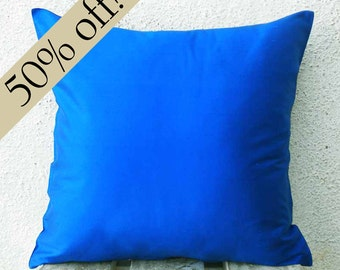 "Royal Blue Silk Dupioni Pillow Cover 15 x 15  - ""HALF PRICE SALE"" - - s24F"