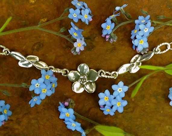 Forget-me-not Necklace, the Alaskan State Flower, cast in eco friendly reclaimed sterling silver