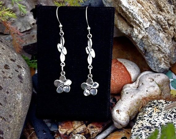 Alaskan Forget-me-not earrings, Sterling Silver, cast eco friendly, up cycled, reclaimed silver on sterling ear wires