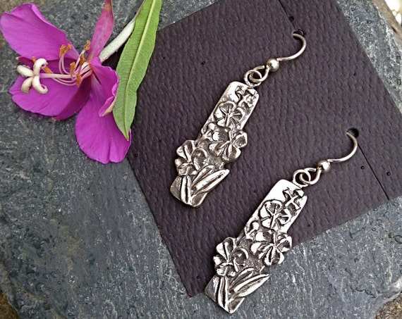Alaskan Silver Fireweed Dangle Earrings, cast in reclaimed silver, on silver ear wires