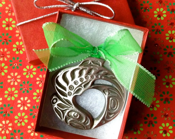 Salmon Ornament, Christmas Ornament, Alaskan Ornament, Native Style Salmon, Holiday Ornament, Christmas Gift, Stocking Stuffer, Holiday Gift