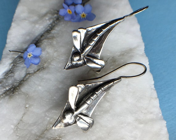 Silver Dragonfly Earrings, Made In Alaska, cast in eco friendly reclaimed sterling siver