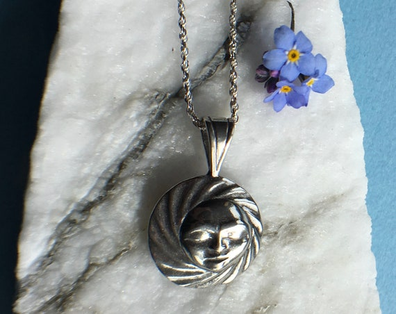 """Silver Full Moon Necklace on 18"""" sterling rope chain, Alaskan Native style, cast in eco friendly reclaimed sterling silver"""