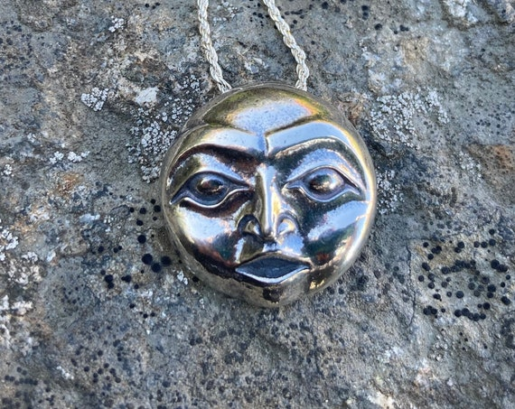 """Full Moon Alaskan Native style amulet pendant on 20"""" sterling chain, cast in eco friendly reclaimed sterling silver"""