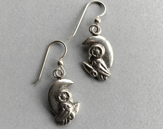 Silver Owl Earrings, Made in Alaska, cast in eco friendly, upcycled, reclaimed silver, on sterling ear wires