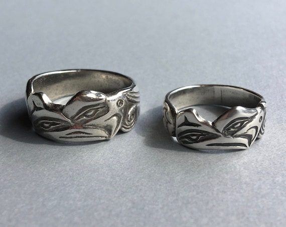 Alaskan Native Style Silver Lovebirds Ring, Raven and Eagle, cast in reclaimed silver