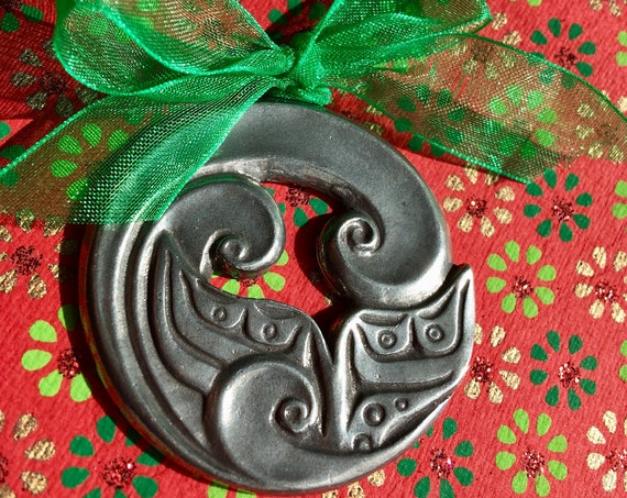 Alaskan Whale Tail Christmas Tree Ornament, Native style, cast in pewter, comes on hanger and in gift box
