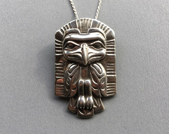"Alaskan Eagle Necklace/Brooch, Native Style, Frontlet, cast in eco-friendly sterling silver, on 20"" sterling rope chain"