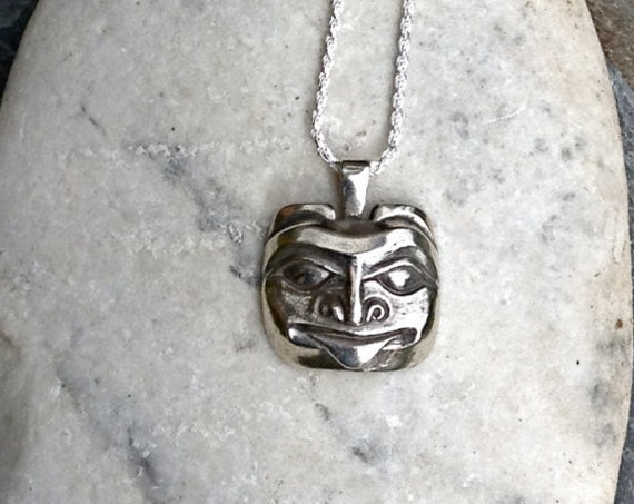 "Silver Alaskan Bear Mask Necklace, Northwest Coast Native Style cast in eco friendly sterling silver, on 18"" sterling rope chainreclaimed"