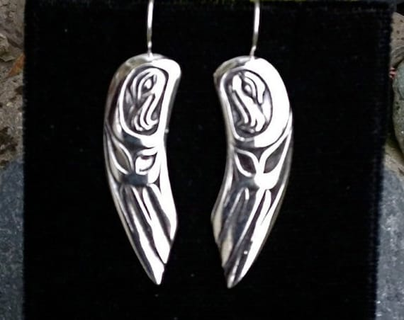 Alaskan Native Style Silver Hawk Wings Earrings, cast in reclaimed silver, on silver ear wires
