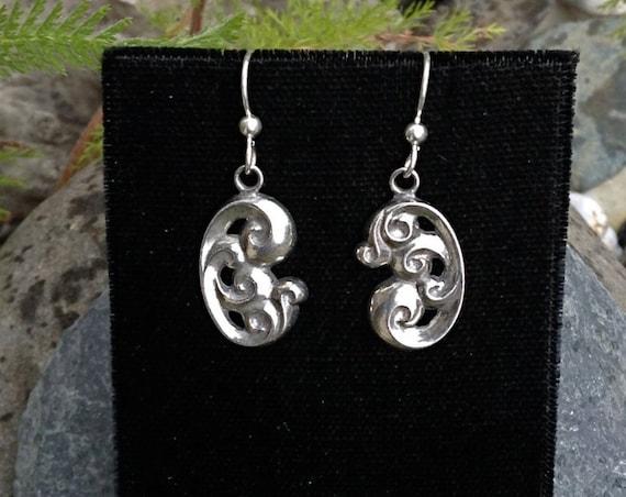 Alaskan Waves silver drop earrings, cast in eco friendly reclaimed sterling silver