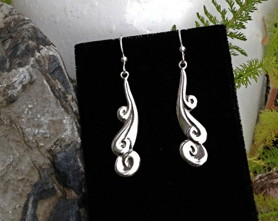 Alaskan Silver Ocean Spirit Elegant Women's Earrings, cast in reclaimed silver, on silver ear wires