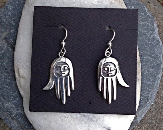 Alaskan Native Style Silver Healing Hand Earrings, cast in reclaimed silver, on silver ear wires