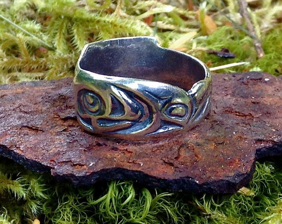 Silver Alaskan Native Style Salmon Ring, cast in reclaimed sterling silver