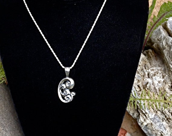 "Alaskan Silver Waves Charm Necklace, cast in reclaimed silver, on 18"" silver rope chaine"