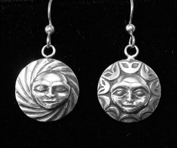 Silver Sun and Moon Earrings, Alaskan Native Stye inspired drop earrings cast in eco friendly reclaimed sterling silver, on silver ear wires