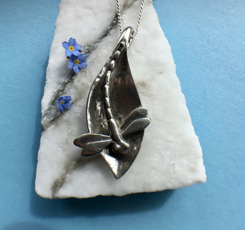 Silver Alaskan Dragonfly Necklace cast in reclaimed silver image 0