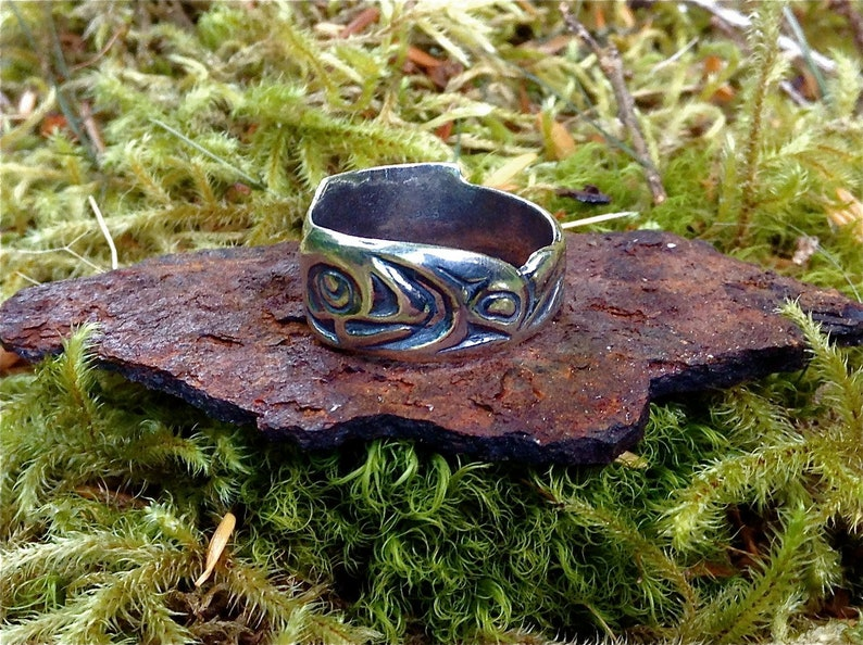 Silver Alaskan Native Style Salmon Ring cast in reclaimed image 0