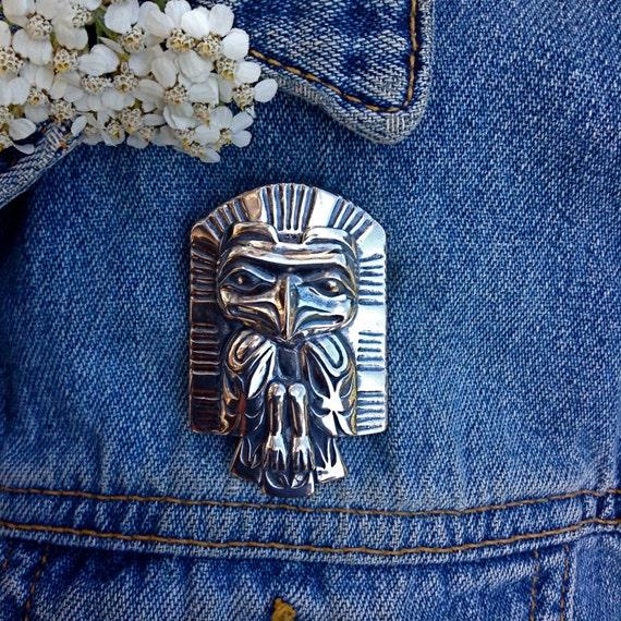 Silver Eagle Frontlet Brooch, Alaskan Native Style, cast in eco friendly reclaimed Sterling silver