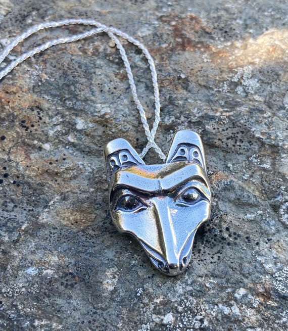 """Alaskan Wolf Native style amulet pendant, on 20"""" sterling chain, cast in eco-friendly reclaimed sterling silver"""