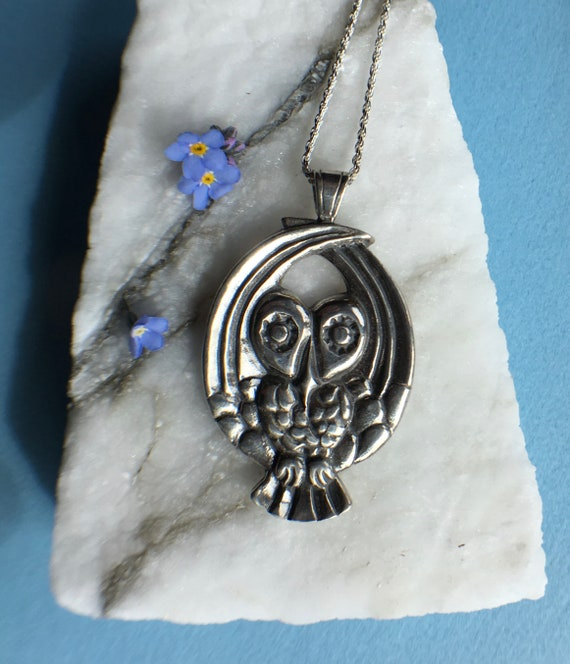 "Silver Alaskan Owl Necklace, cast in eco friendly, up cycled, reclaimed silver, on 20"" sterling rope chain"