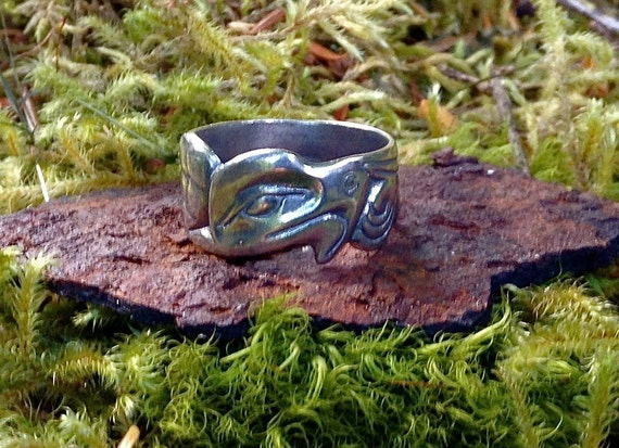 Alaskan Silver Native Style Eagle ring, cast in reclaimed silver