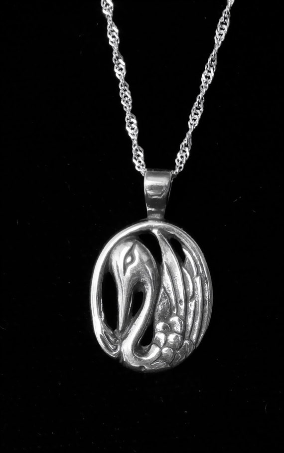 "Alaskan Silver Swan Charm Necklace, cast in reclaimed silver, on 18"" silver rope chain"