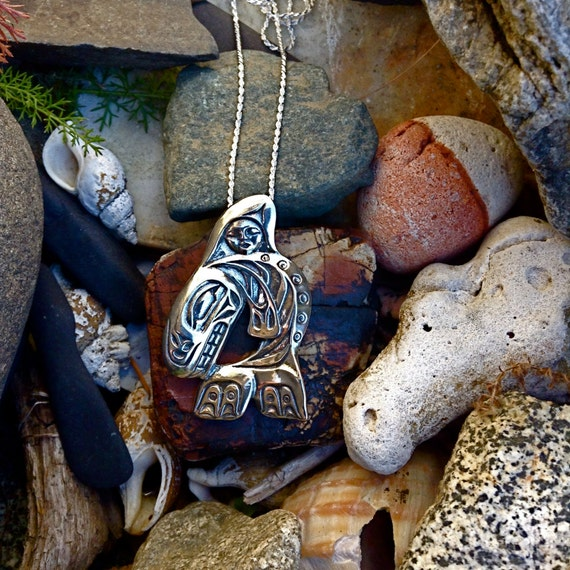 "Alaskan Native Style Sterling Orca Whale Necklace, cast in eco friendly reclaimed silver, on 20"" sterling silver rope chain"