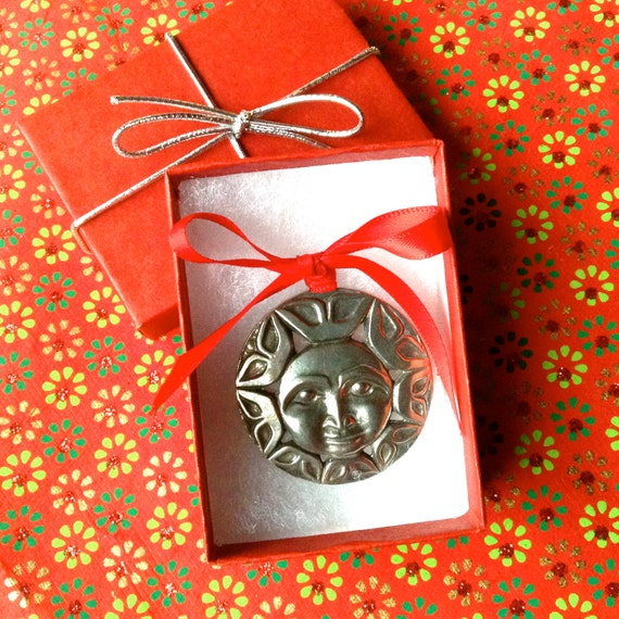 Sun Ornament, Christmas Ornament, Holiday Ornament, Native Style Art, Pewter Ornament, Christmas Gift, Holiday Gift,Stocking Stuffer,Sun Art