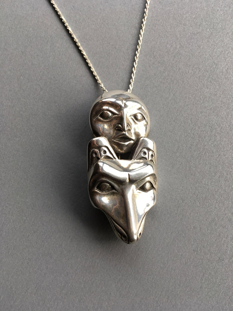 Silver Wolf Necklace/Brooch with Full Moon Alaskan Native image 0
