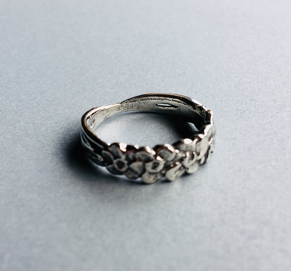 Forget-me-not ring, Alaska State flower, cast in eco friendly reclaimed sterling silver