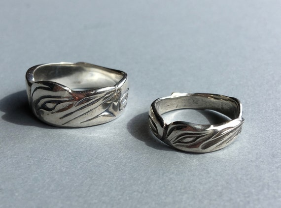 Raven Ring Alaskan Native Style, Sterling, cast in up cycled, reclaimed, eco friendly silver