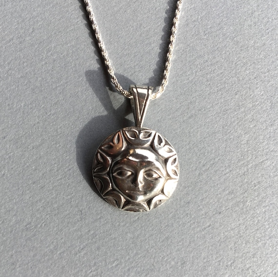 "Silver Alaskan Native Style Sun Necklace, cast in reclaimed silver, on 18"" sterling rope chain"