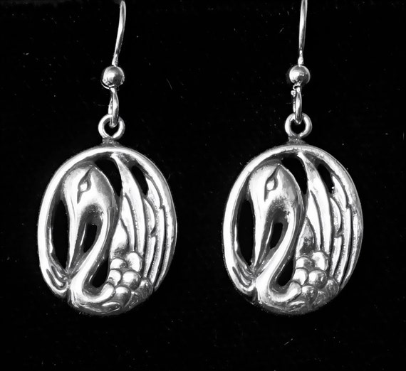 Silver Alaskan Swan Earrings cast in eco friendly, up cycled, reclaimed silver, on sterling ear wires