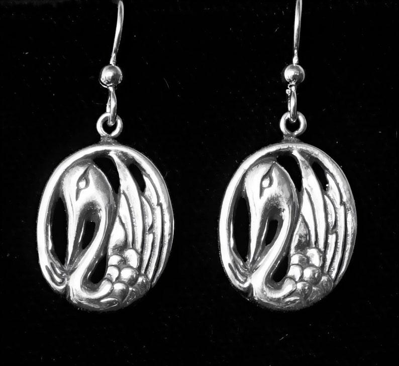 Silver Alaskan Swan Earrings cast in eco friendly up cycled image 0