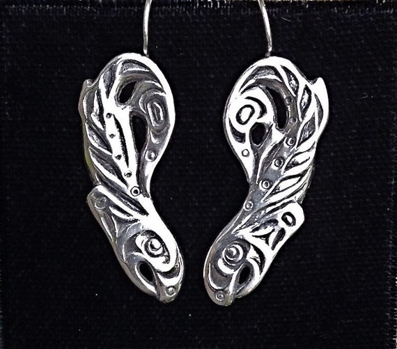 Sterling Silver Salmon Earrings Alaskan Native Style, Eco friendly, Up Cycled, Reclaimed Silver on silver ear wire