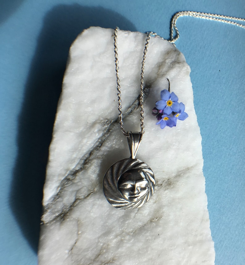 Silver Full Moon Necklace on 18 sterling rope chain image 0