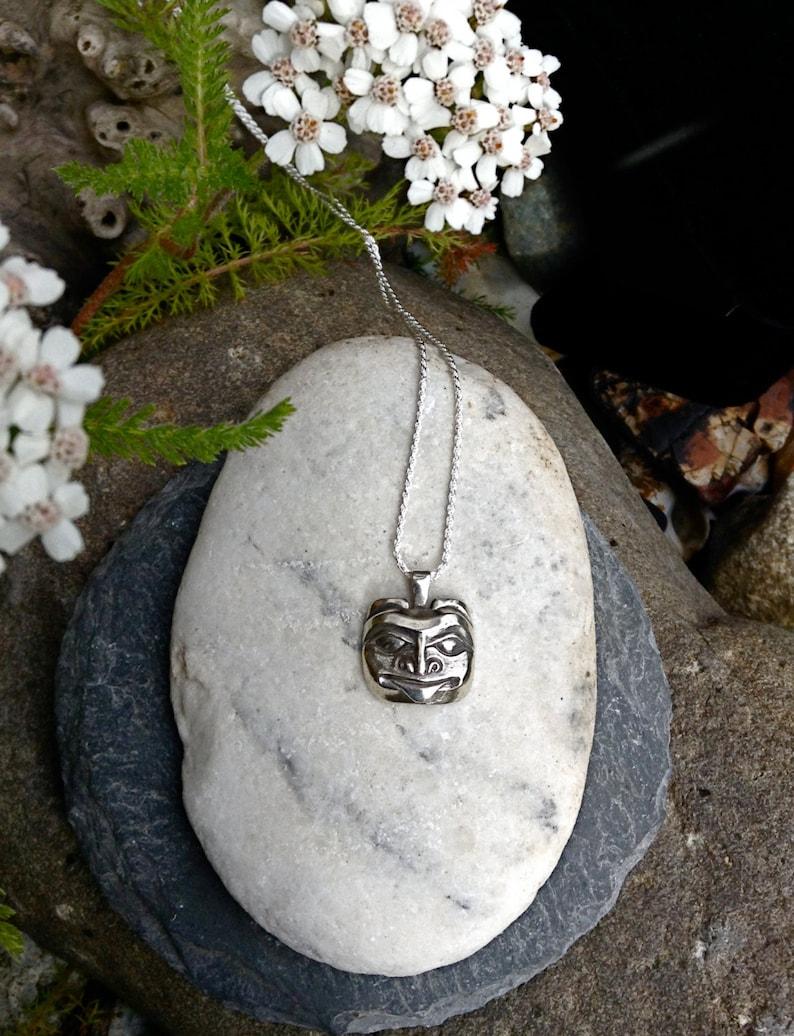 Silver Alaskan Bear Mask Necklace Northwest Coast Native image 0