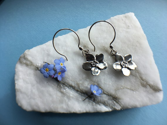 Silver Forget-me-not earrings, Made in Alaska, cast in eco friendly reclaimed sterling silver, on silver ear wires
