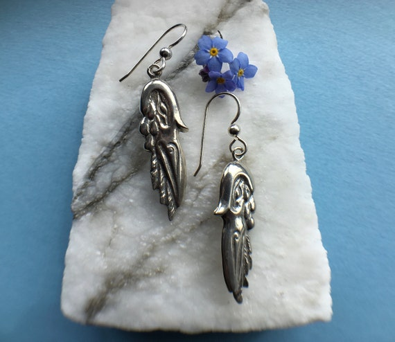 Silver Raven Earrings, Alaskan Native Style, eco friendly reclaimed silver, on sterling ear wires