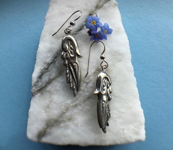 Silver Raven Earrings, Alaskan Native Style, eco friendly reclaimed silver, on sterling ear wires