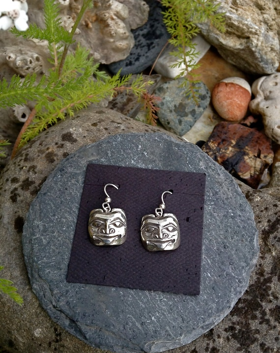Silver Bear Mask Earrings, Alaskan Native style, on silver ear wires, cast in eco friendly reclaimed sterling silver