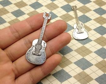 10 pcs of Antique Silver Guitar Pendants Charms 23mmx62mm