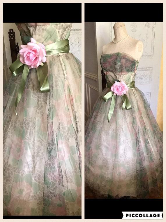 1950er Jahre Hochzeit Kleid 50er Jahre Vintage Partykleid Tull Etsy