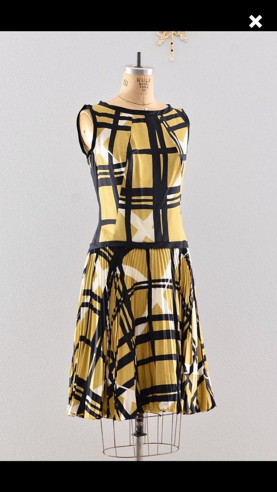 1950s Vintage Dress Drop Waist abstract print madm