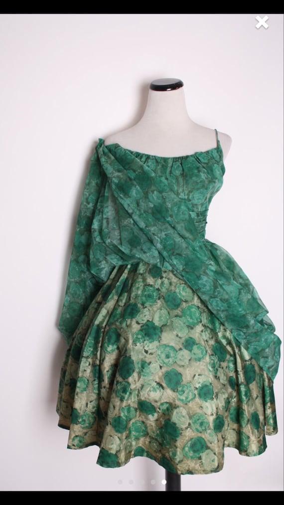 1950S VINTAGE DRESS GREEN